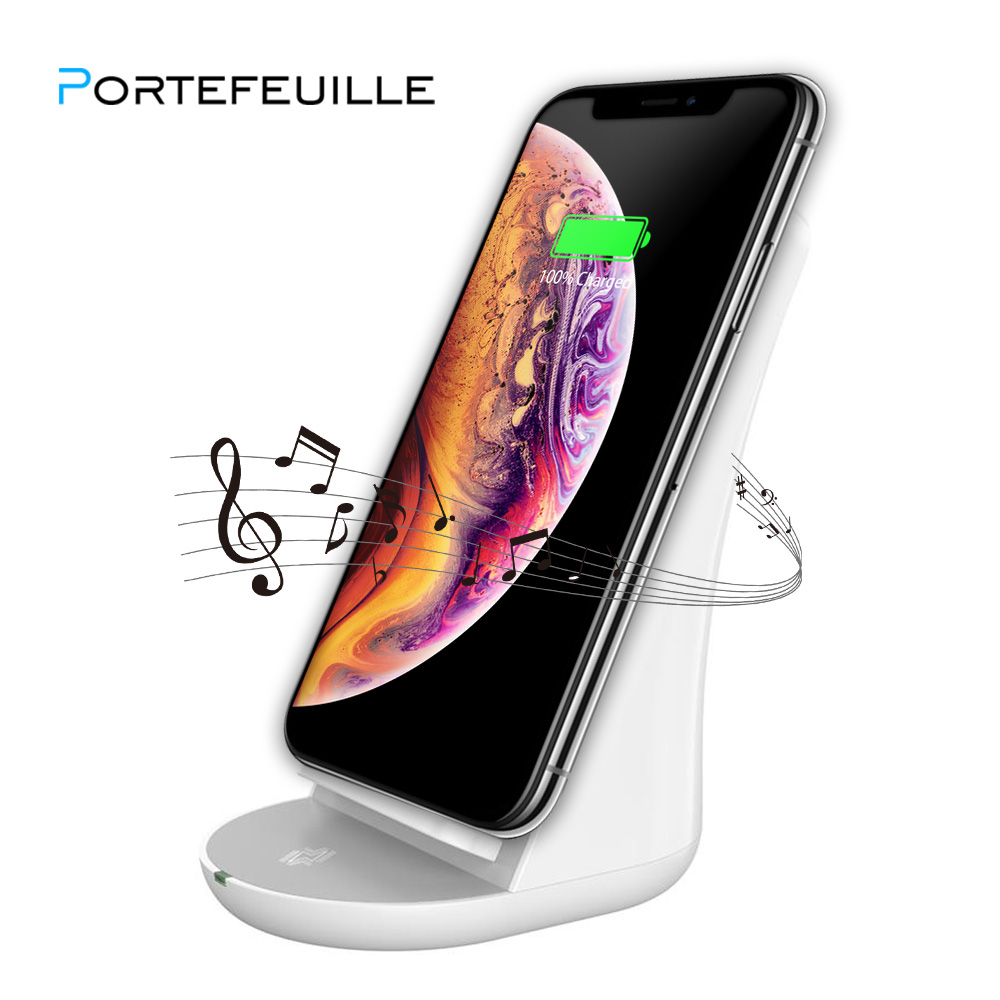 PORTEFEUILLE qi powerbank best Music bluetooth speaker portabl for iPhone7 8 X XS Wireless Fast Charging Pad Charger for samsung