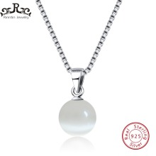 Rinntin Real 925 Sterling Silver Women Pendants & Necklaces Cat's Eye Stone Female Fine Men Jewelry Anniversary Gift TSN87-W