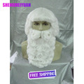 High Quality Festival Prop Fans curly Wigs Cosplay White Beard Christmas Santa Claus Wig + Two Differient Style Mustache Choose