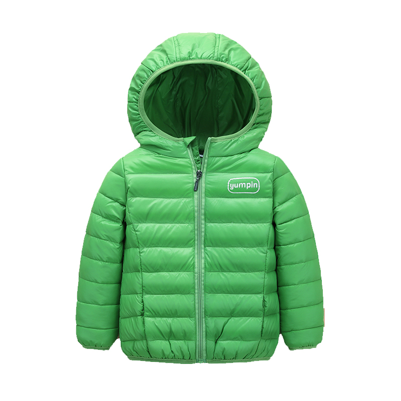 80% white duck down Autumn and Winter coats new children's clothing solid jacket Boys Hooded short baby girls warm Down & Parkas