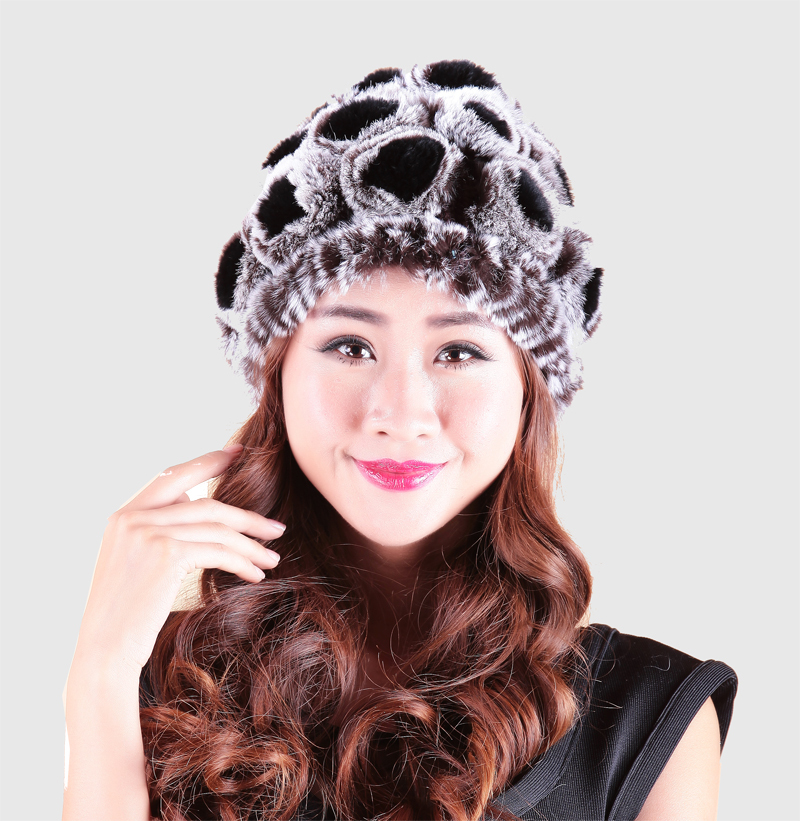 Genuine Natural Knitted Rex Rabbit Fur Hat Beanie Women's Caps Headgear Real Hats Rose Chapeau For Winter RH-004