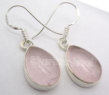 Chanti internacional plata Cabochon rosa cuarzo rosa GEM tradicional Pendientes 3.3 cm