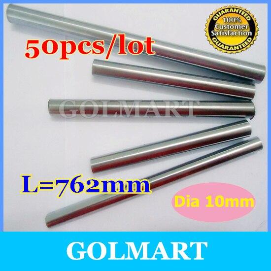 Линейный вал 50 шт. диаметр 10 мм-L 762 мм хромированный прецизионный закаленный линейный круглый вал закаленный вал движения