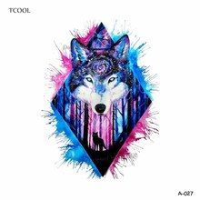 TCOOL Wolf Temporary Tattoo Stickers Waterproof Women Fake Hand Animal Tattoos Adult Men Body Art 9.8X6cm A-085