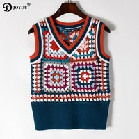 JOYDU Runway Design Lady's Sweater Pullovers 2018 New Vintage Sleeveless Knit Vest Hollow Out Crochet Chic Korean Casual Jumper