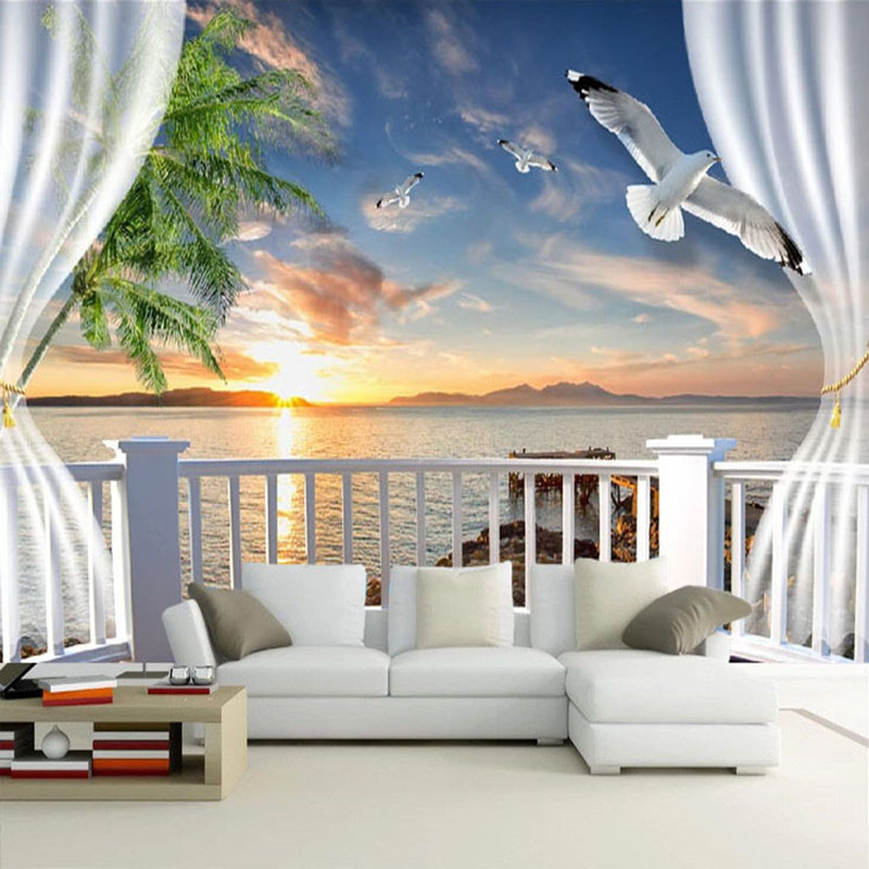 Photo Wallpaper 3D Stereo Balcony Curtains Sunset Seascape Murals Wall Cloth Living Room TV Sofa Backdrop Wall Home Decor Fresco in Fabric Textile Wallcoverings from Home Improvement
