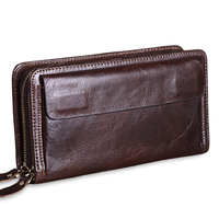 New Fashion Business Men's Long Wallets Natural Real Leather Male 100% Cow Genuine Leather Cash Purses Clutch Men Card Holder