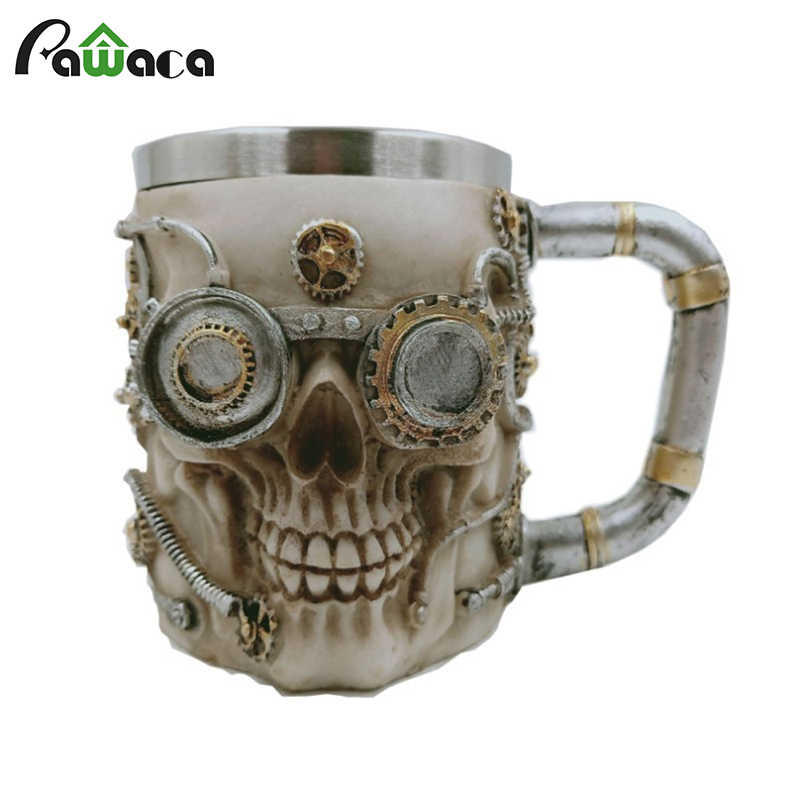 Tea Gift Mug Coffee Mugs Skull Beer Decoration Viking For Steel Party Cup Stainless Bar Robot Cool 3d Skeleton Design Home nP80XwOk