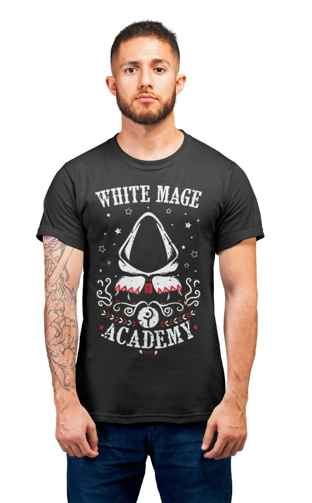 White Mage Academy Final Fantasy RPG D&D Gaming T-Shirt Adults Unisex T-ShirtsMen Adult T Shirt Short Sleeve Cotton image