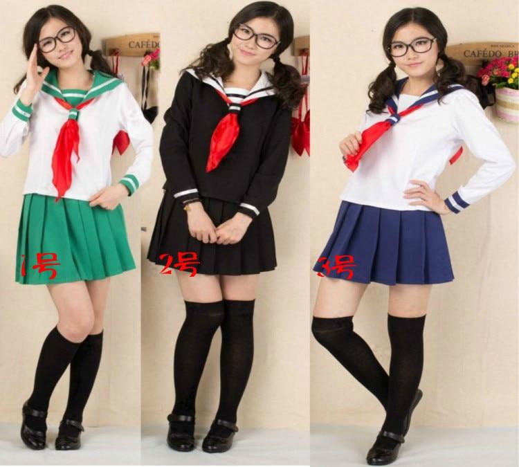 Real Navy Sailor Suit South Korea Girl Uniforms Cos School Girl Costume Korea Wind -1442