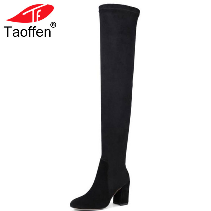 TAOFFEN Winter Elastic Shoes Women Real Leather Thick High Heel Over Knee Boots Women Warm Thigh High Winter Botas Size 34-39 coolcept winter shoes women real leather thick platform wedges winter boots for women zip high heel warm plush botas size 34 39