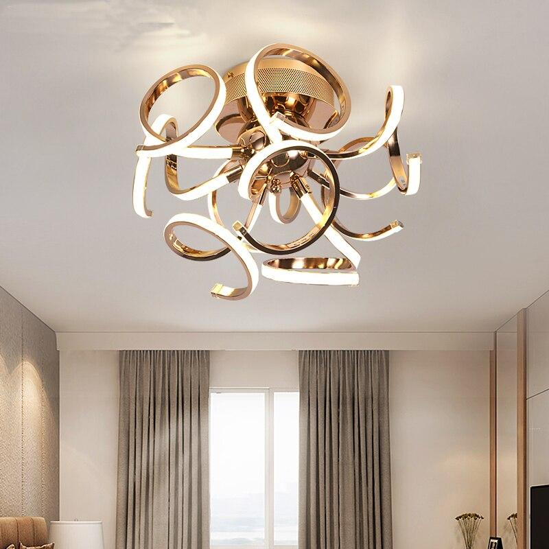 Nouvelle brève style LED plafond Lustre chrome or plafonnier led lampe moderne salon chambre éclairage diamètre 50 cm