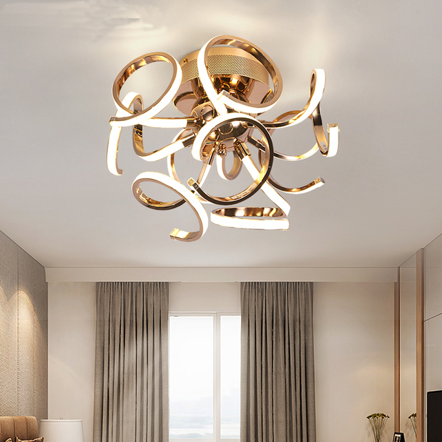 New brief style led ceiling chandelier chrome gold plafonnier led lamp modern living room bedroom lighting