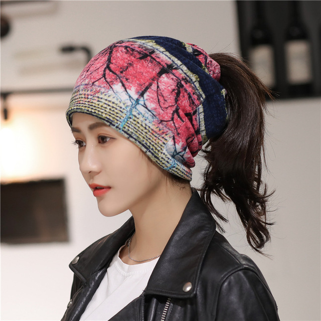 1cd0dd32d2a9f0 Drop Shipping 2019 Casual Stretch Knitted Hats Soft Knit Ponytail Beanie Hat  Winter Cap Women Warm Cap Ladies Skullies Beanies