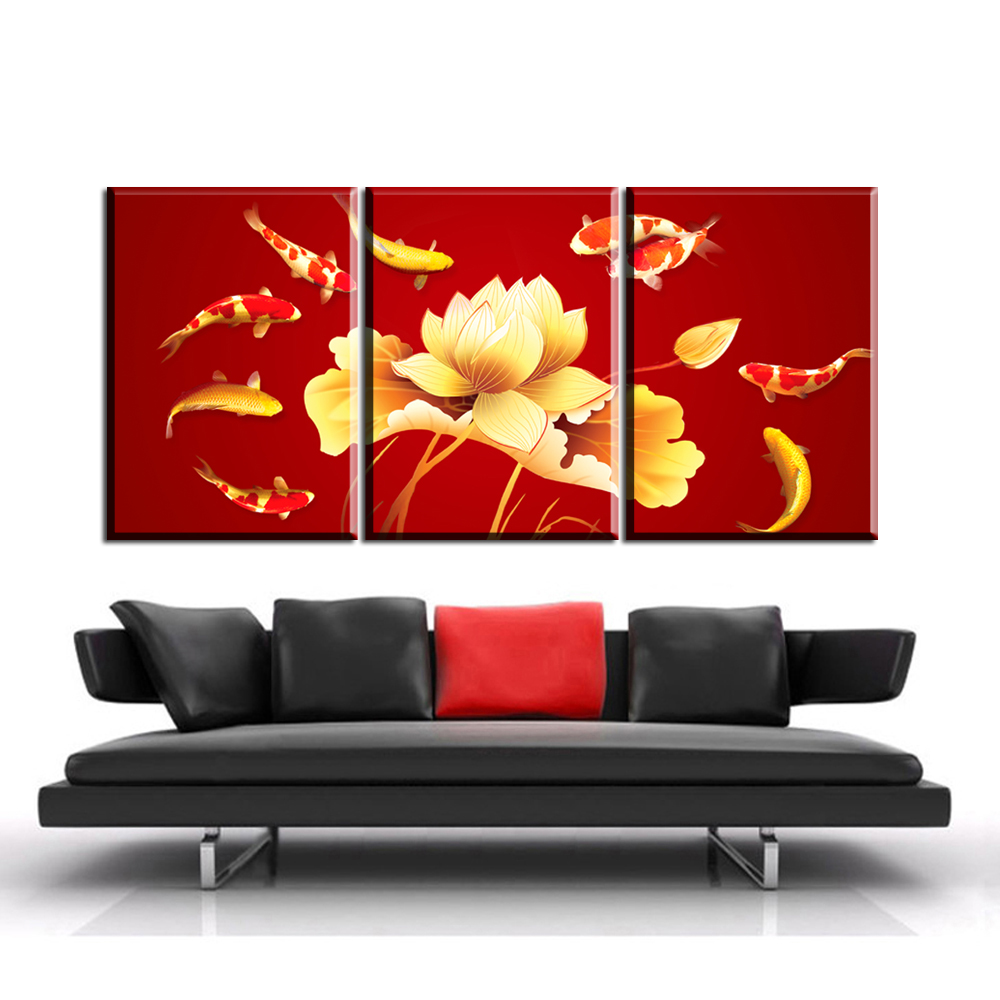 AB1 3Pcs Red Colored Koi Fish Canvas Prints Poster Luxury