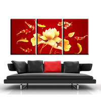 AB1 3Pcs Red Colored Koi Fish Canvas Prints Poster Luxury Decor Living Room Wall Painting Posters