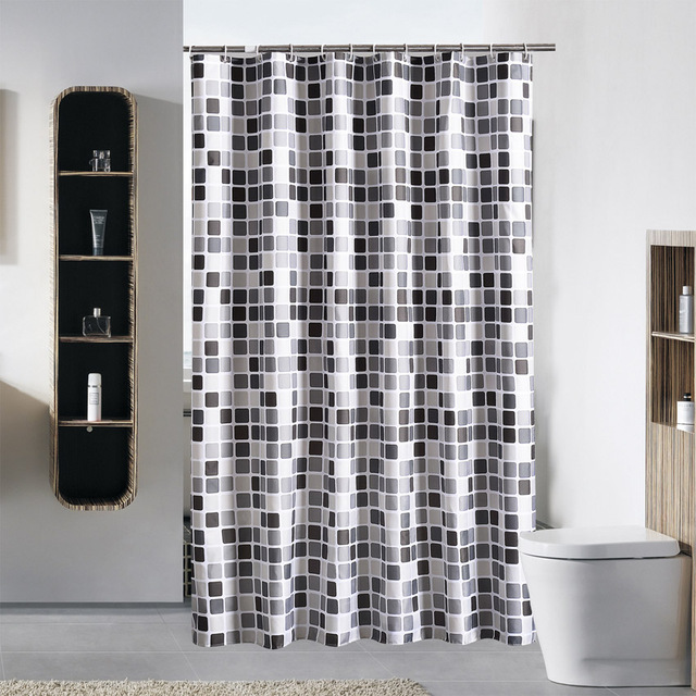 Modern Shower Curtain Mosaic Geometric Waterproof Bath Curtains Bathroom For Bathtub Bathing Cover Extra Large Wide 12pcs Hooks