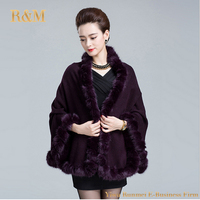 Fashion Women Sweater Cardigans Autumn Winter Solid Color Knitted Fur Trim Womens Capes And Ponchoes Femme
