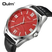 OULM moda biznes Oversize zegarek mężczyźni zegar kwarcowy z cyframi rzymskimi czerwony Dial skórzany pasek klasyczne męskie zegarki Top marka luksusowe