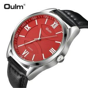 Image 1 - OULM moda biznes Oversize zegarek mężczyźni zegar kwarcowy z cyframi rzymskimi czerwony Dial skórzany pasek klasyczne męskie zegarki Top marka luksusowe