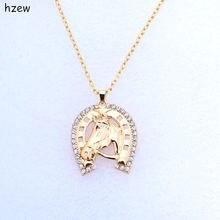 Модное ожерелье hzew в форме подковы с кристаллами брендовые