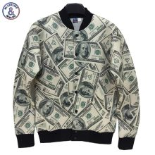 2017 Mr.1991INC Newest style Men/Women jacket 3d Funny print Paper money dollars Washington 3d jacket college student uniforms