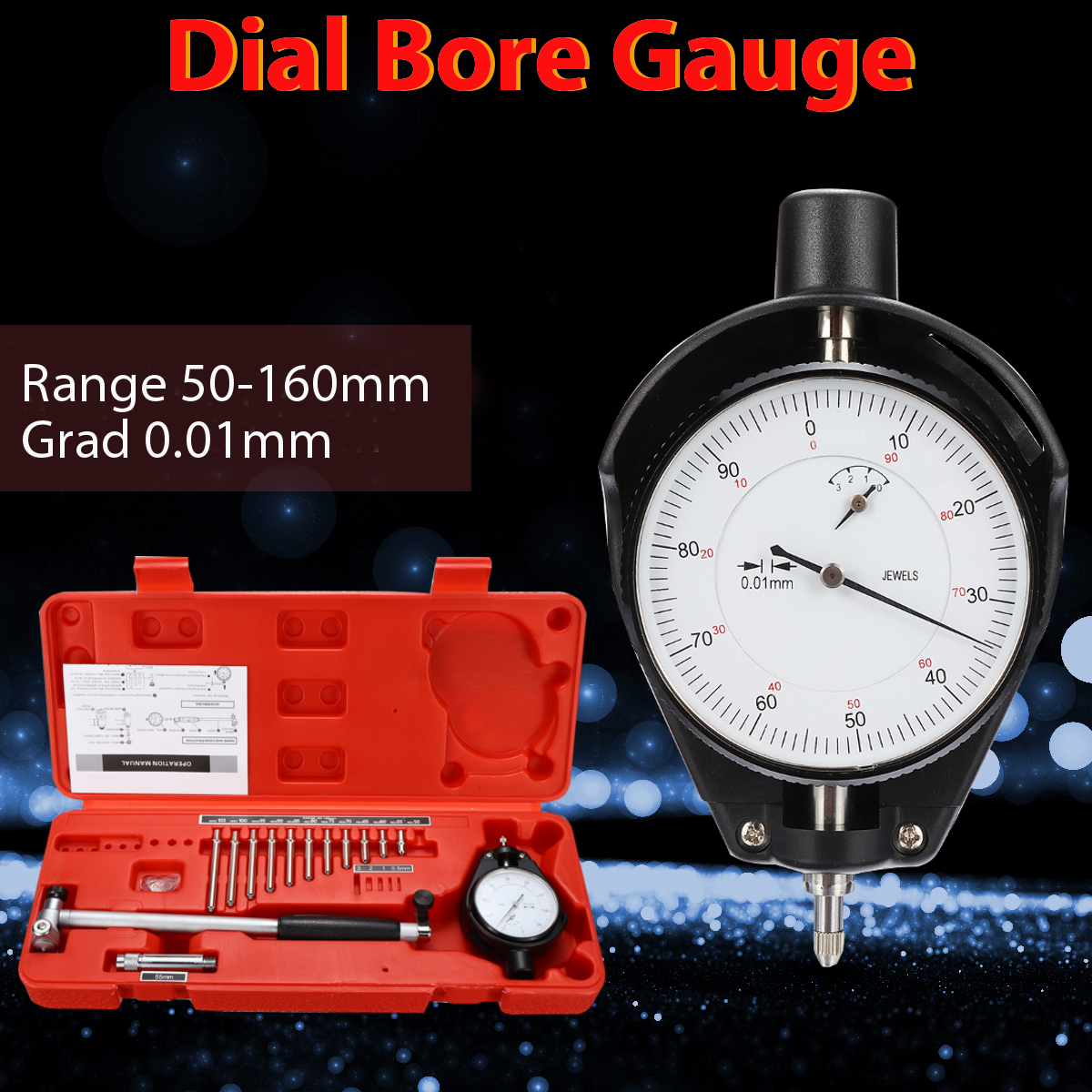 цена на 50-160mm/0.018mm Dial Measuring Indicator Inner Diameter Center Ring Dial Bore Gauge Steel+ABS Durability Movable/Change Probe
