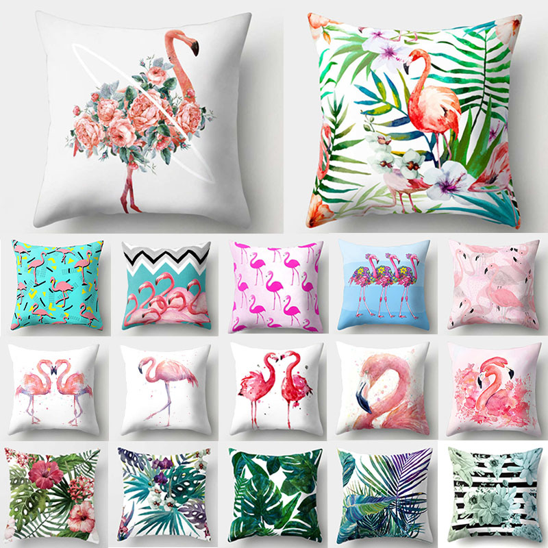 1Pcs Flamingo Flower Leaf Pattern Polyester Throw Pillow Cushion Cover Car Home Decoration Sofa Bed Decorative Pillowcase 40516