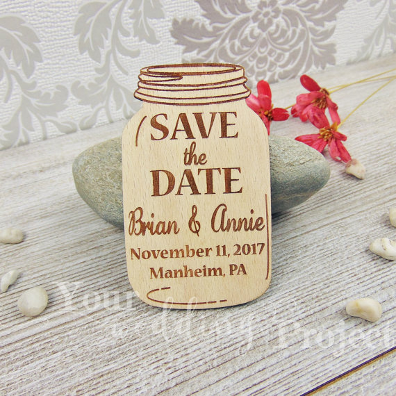 Mason Jar Save The Date Magnet Rustic Wedding Favor Engraved Wooden Decoration Wood Magnets In Party Favors From Home Garden On Aliexpress