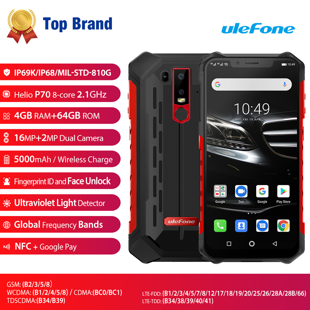Image 2 - Ulefone Armor 6E Waterproof IP68 NFC Rugged Mobile Phone Helio P70 Otca core Android 9.0 4GB+64GB wireless charge Smartphone-in Cellphones from Cellphones & Telecommunications