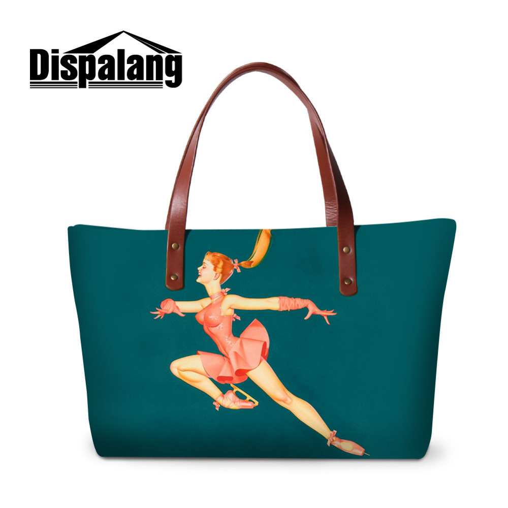 Dispalang Large Women Handbags Ice skating Girls Casual Tote Bag Female Shoulder Hand bag Ladies Top-handle Bags forudesigns vintage black pet dog printed women large handbags fashion ladies top handle bag girls shoulder female big tote bag