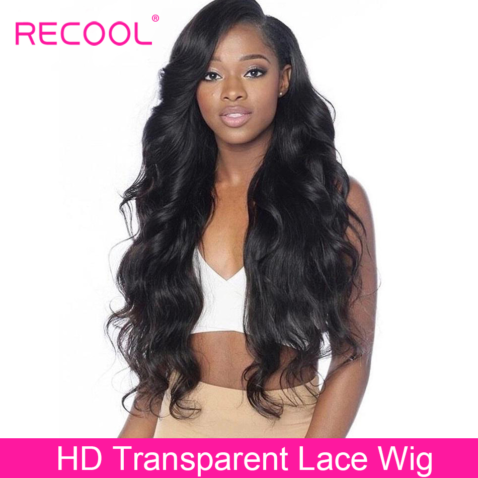 Recool HD Transparent Lace Wig Body Wave Lace Front Human Hair Wigs Pre Plucked Full Brazilian