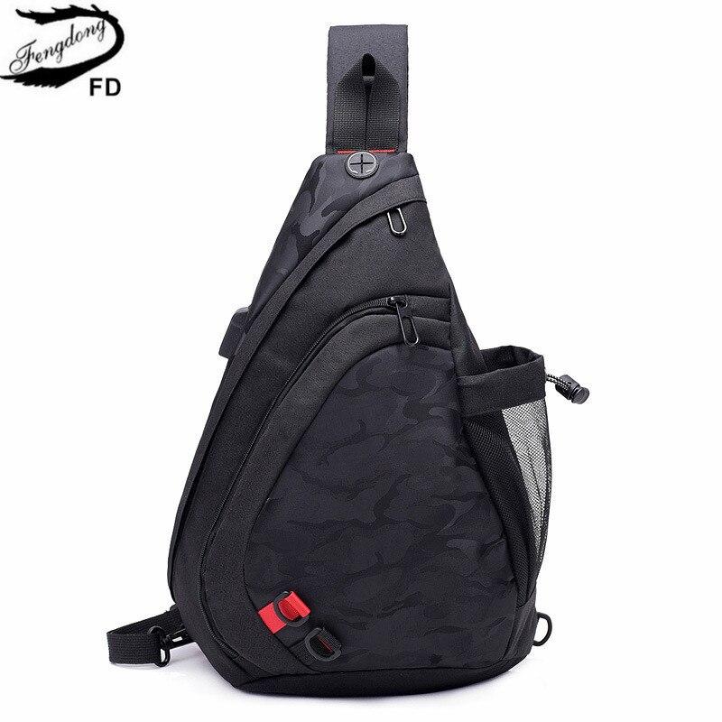 FengDong étanche tissu mâle bandoulière sac petit noir camouflage sling poitrine sac une épaule sacs pour hommes bagpack sac à dos