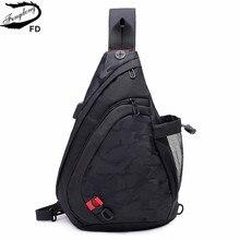 Fengdong防水生地男性クロスボディバッグ小黒迷彩スリング胸バッグ女性のbagpackデイパック