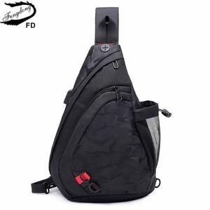 Image 1 - Fengdong עמיד למים בד זכר crossbody תיק קטן שחור הסוואה קלע חזה תיק כתף אחת שקיות לנשים bagpack daypack