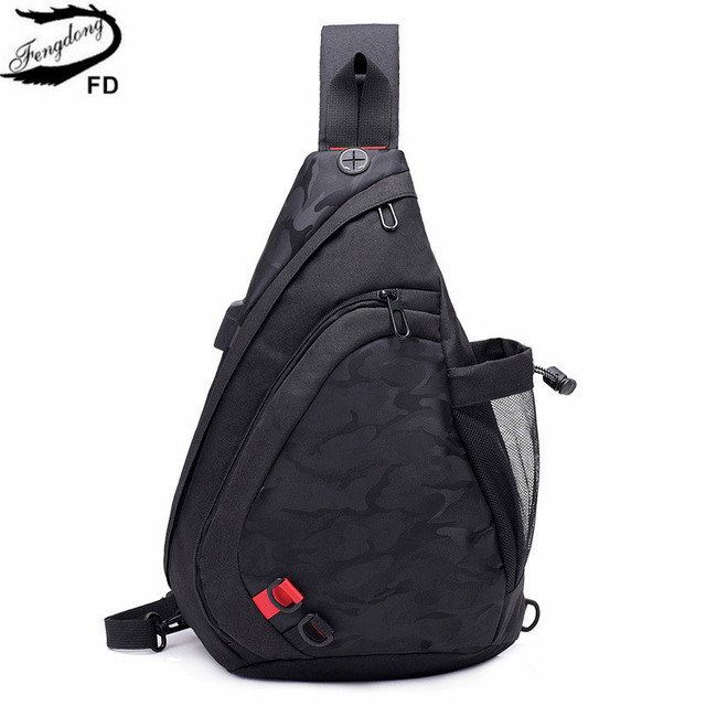 Fengdong waterproof fabric male crossbody bag small black camouflage sling chest bag one shoulder bags for women bagpack daypack