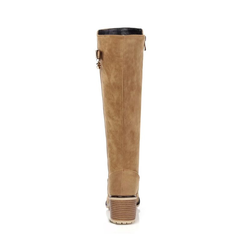 Brown Talon Bloc grey Chevalier black Fermeture Light Épais Nouvelle Suede Faux Éclair Circonscription Botas Beau Femmes Bottes Automne Haute Classique Genou Chaussures Boucle xqzPRwnv1