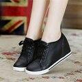 Caliente-Venta! negro + Blanco de Las Mujeres Zapatos de Mujer de Moda de Cuero Genuino Lace Up Casual Zapatos de Tacón de Cuña Oculta Size32-40
