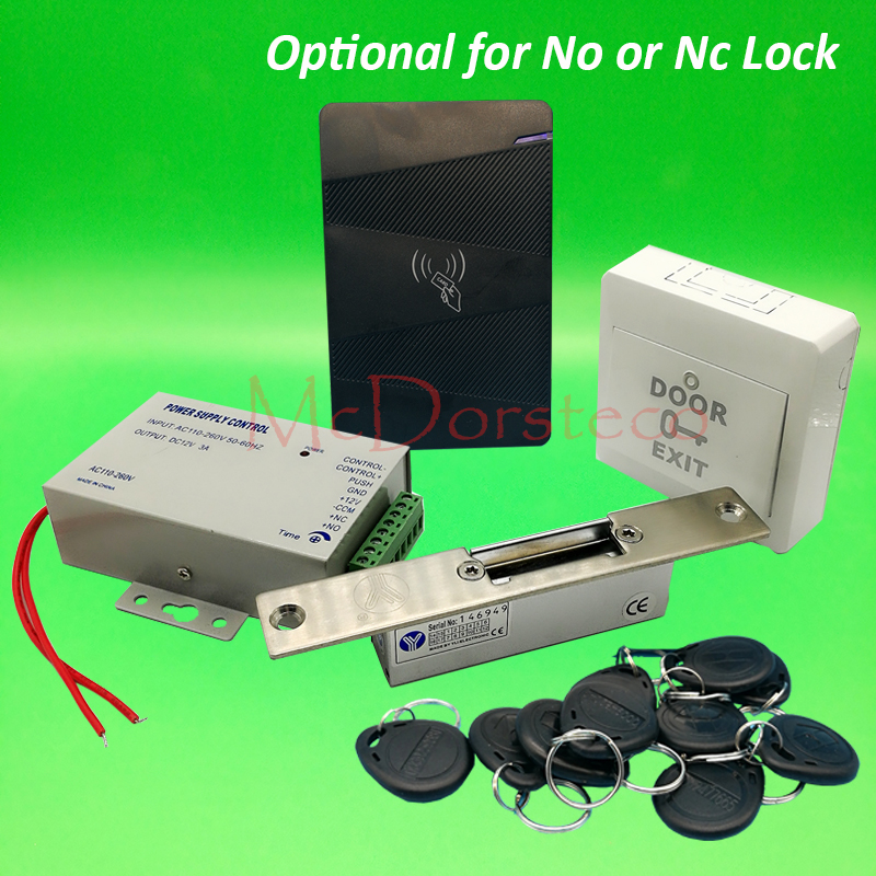 DIY Rfid waterproof Door Access Control Kit Set with No or Nc Electric Strike Lock+10 RFID keyfob Card Full Door Lock System metal rfid em card reader ip68 waterproof metal standalone door lock access control system with keypad 2000 card users capacity