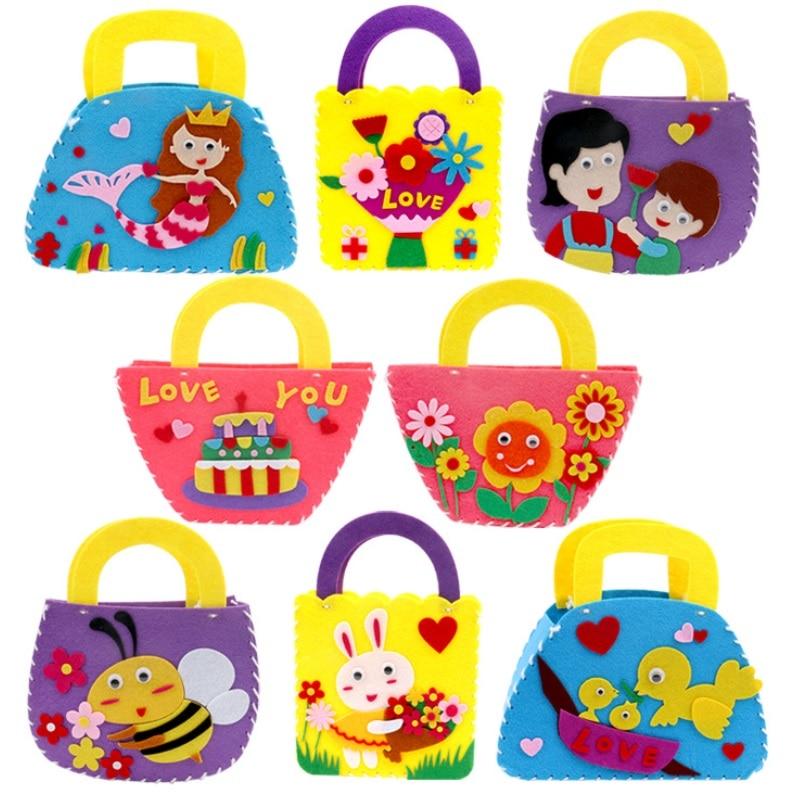 Children DIY Non-woven Cloth Toys Kids Handmade Sewing Handbags Child Kindergarten Bags Kits Arts Crafts Educational STEAM Toy