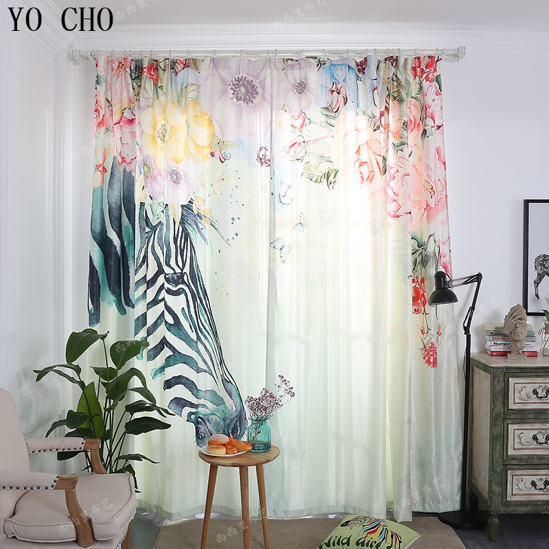 YO CHO3d digital printing and dyeing zebra flower curtains for children luxury curtains baby/kids room curtains blackout curtain