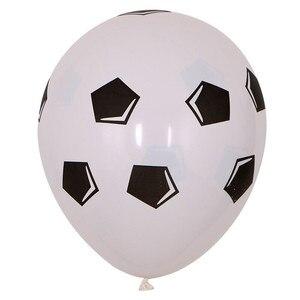 Image 3 - 13 sztuk/partia 18 calowy okrągły piłka nożna balony foliowe dziecko urodziny gym Party piłka nożna Helium Globos 10 cal biały czarny lateks...