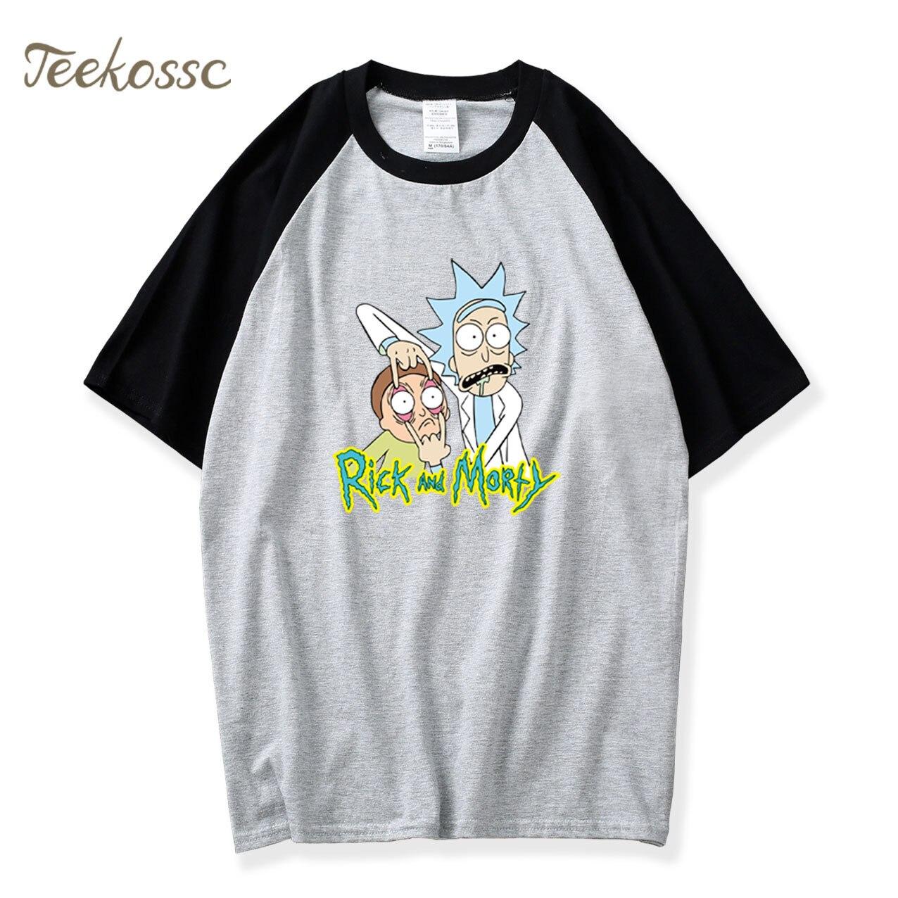 Cartoon Rick and Morty Tshirt 2018 New Summer Raglan T Shirt Homme Men Pop Camiseta Tops Tee 100% Cotton Anime Morty Tshirts