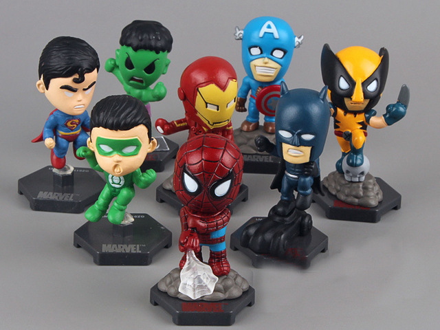 Super-heróis Os Vingadores Capitão América Hulk X-men Spiderman Greenlantern Batman Action Figure Toys 8 pçs/set 6 cm