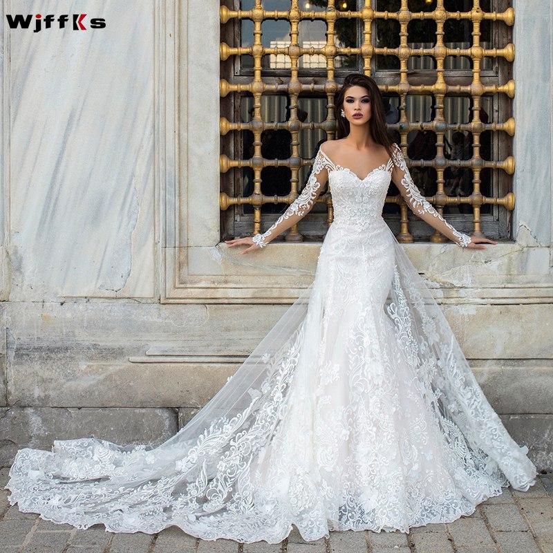 WJFFKS 2019 Appliques Vestido de Noiva Long Sleeve Mermaid Wedding Dresses with Lace Appliqued Illusion Button