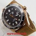45 мм Parnis черный циферблат позолоченный чехол Дата miyota автоматические мужские часы P822