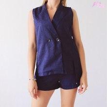 2018 Korean Version Spring Cotton Vest Women Shorts Ladies Two Sets Office Lady Summer Suit