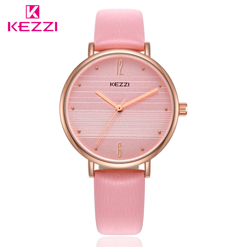 Kezzi Top Brand Fashion Ladies Watches Leather Female Quartz Watch Women Thin Casual Strap Watch Reloj Mujer Business Watch shengke top brand fashion ladies watches white leather marble dial female quartz watch women thin casual strap watch reloj muje