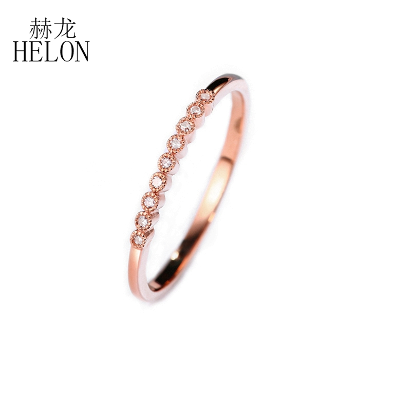 HELON SI/H Natural Diamonds Ring Solid 10k Rose Gold Engagement Ring for Women Wedding Ring Fine Jewelry Trendy Fine Jewelry trendy environmental alloy openwork width ring for women
