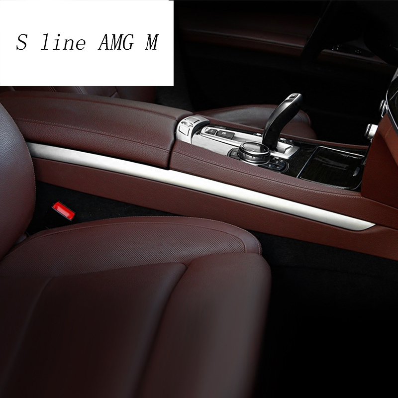 Car styling Gear Shift panel decorative strip auto covers Stickers trim For <font><b>BMW</b></font> 7 Series <font><b>F01</b></font> F02 740Li 730Li auto <font><b>Accessories</b></font> image
